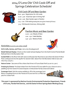 2014 Chili Cook-Off and Springs Celebration Schedule of Events